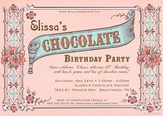 Chocolate Party Invitation - Vintage Chocolate Box Inspired - Birthday, Bridal or Baby Shower, Any Occasion. $16.00, via Etsy.