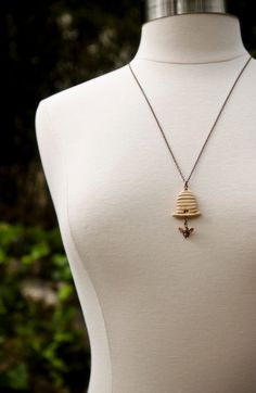 Little Bee with Beehive Necklace
