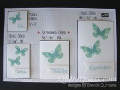 "2015  Stamping 101: Card Sizes STANDARD CARDS How to cut: 8-½"" x 5-½"" piece of card stock. On the long side, score at the 4-¼"" mark.  Folded Size: 5-½"" x 4-¼"" (also called A2)  Envelopes: Medium (white, vanilla, crumb cake, clear)  Uses: All Purpose"