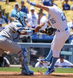 . Dodgers Chase Utley is tagged out at home by Brewers Martin Maldonado during first inning action at Dodger Stadium Sunday, June 19, 2016. Dodgers defeated the Milwaukee Brewers 2-1. (Photo by David Crane Southern California News Group)