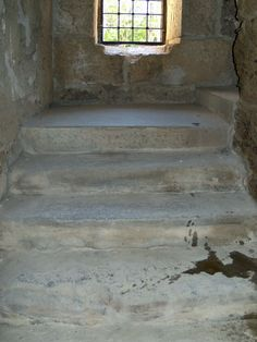 Staircase inside the tower flanking the podium of the theatre of Aspendos, Turkey
