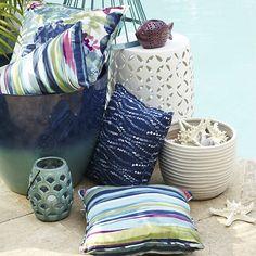 Garden stool, cushion, lanterns and accessories
