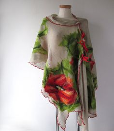Linen poncho linen scarf Knit Linen shawl, Poppy scarf Grey jersey stole , Natural linen poncho, felted scarf, Red Poppy flower, Natural flax This knitted shawl is made from natural linen yarn. Scarf was decorated with red steam and big felted poppy flower. Linen is a natural fiber, it does not cause allergies. Shawl is thin, light , airy and you can tie it in different ways. You can wear this shawl as a poncho, pareo in summer or top . Measurement: long -200 (80 inches ) width - 55-60cm The…
