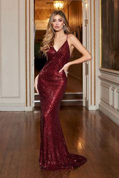 3111629b440 Berry Sequin Cross Back Fishtail Maxi Dress