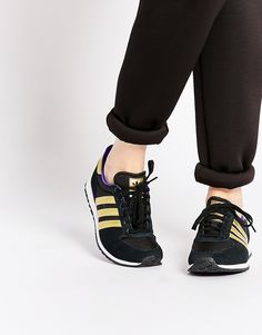 premium selection edc48 989ab adidas Originals Adistar Black   Gold Trainers at asos.com