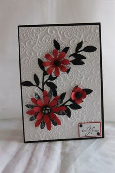 lacy brocade embossing folder ( stampin up), blossom party die ( stampin up) sizzlets leaves die( stampin up) scraps of bo bunny paper, cuttlebug /big shot card