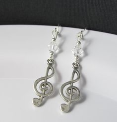 Treble Clef Earrings G Clef Earrings Music by BeadBrilliant, $15.00