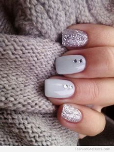 | Winter nail design with shimmer and rhinestones accent  |