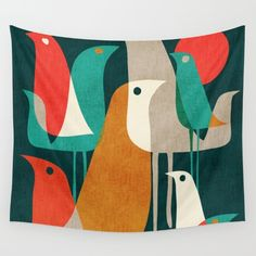 Flock of Birds Wall Tapestry by Budi Satria Kwan Cute Shower Curtains, Organic Art, Flock Of Birds, Retro Color, Mid Century Modern Furniture, Beautiful Wall, Flocking, Cushion Covers, Wall Tapestry