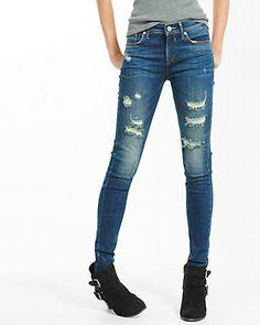 mid rise distressed jean legging