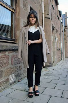 Topshop jumpsuit with collared shirt. Also love the sixties hair - The Little Magpie