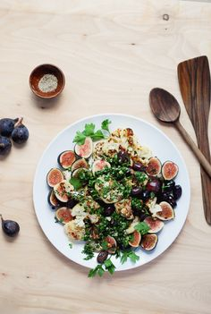 roasted cauliflower with figs and olives.