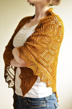 SOLID color SMOOTH yarn knit up into a LACE shawl