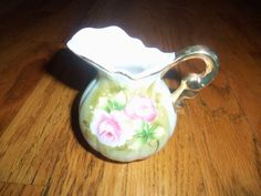 Vintage Lefton China Creamer Green Heritage /Pink Roses Gold Trim 4577 #Lefton