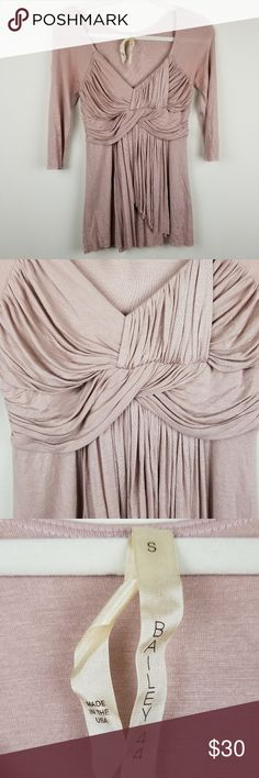 "BAILEY 44 Nude Pink Grecian Ruched Blouse S SIZE: Small  (Please note that all measurements are taken approximately in flat lay.)  MEASUREMENTS:  armpit to armpit: 15"" armpit to sleeve:11"" length:28""  CONDITION: Great condition! No holes or stains. Bailey 44 Tops Blouses"