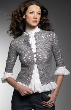 gorgeous and delicate for a special occasion, could be a great bridal sweater.....crochet pattern