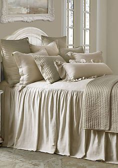Lace Bedding, Grey Comforter, Comforter Sets, Ruffle Curtains, Embroidered Bedding, White Bedspreads, White Pillows, Daybed Cover Sets, Yellow Bedspread