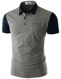 Doublju Men's Short Sleeve Pocket Polo Shirt (CMTTS014) #doublju