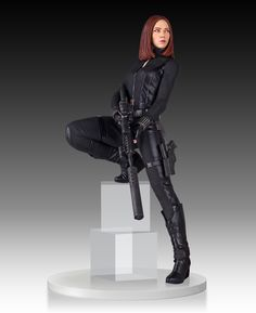 Crafted in the quarter scale, this 18 inch Captain America Winter Black Widow statue was hand-painted and crafted with high-quality polystone. Description from actionfigurefury.com. I searched for this on bing.com/images