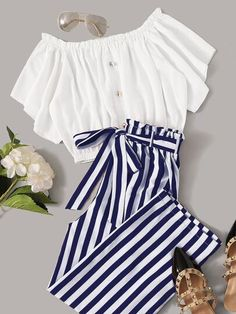 To find out about the Frilled Button Bardot Top & Striped Paperbag Waist Pants Set at SHEIN, part of our latest Two-piece Outfits ready to shop online today! Girls Fashion Clothes, Teenage Girl Outfits, Teen Fashion Outfits, Teenager Outfits, Cute Fashion, Outfits For Teens, Girl Fashion, Matching Outfits, Fashion Blogs