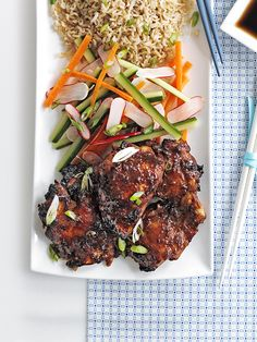 This recipe for sesame miso chicken with sweet and sour salad is really easy, ready in 30 minutes and under 500 calories. Miso paste keeps for ages in the fridge and adds a deep savoury flavour. Grilled Chicken Thighs, Chicken Thigh Recipes, Healthy Chicken Recipes, Asian Recipes, Olive Recipes, Savoury Recipes, Healthy Meals, Healthy Eating, Vegetable Salad