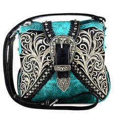 New Montana West® Concealed Carry, Embroidery Longhorn Buckle Messenger -TQ