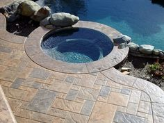 Stamped concrete stamped concrete overlay pool deck for Pool design roseville ca