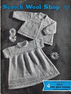 Greenock 936    baby dress and matinee coat    vintage knitting pattern    baby quickerknit wool    up to nine months sizes
