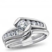West End, 14K White Gold Diamond Bridal Set, 1.00 ctw.