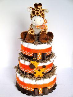 Giraffe Diaper Cake - Giraffe Theme Orange & Brown Baby Diaper Cake Centerpiece - 3 Tier - Shower Decoration and Gift Idee Baby Shower, Baby Shower Giraffe, Fiesta Baby Shower, Shower Bebe, Baby Shower Diapers, Baby Shower Favors, Baby Shower Cakes, Baby Shower Decorations, Baby Shower Gifts