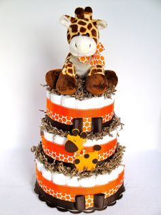 Baby Diaper Cake - Giraffe Theme Orange  Brown Baby Diaper Cake Centerpiece - 3 Tier - Shower Decoration and Gift. $75.00, via Etsy.
