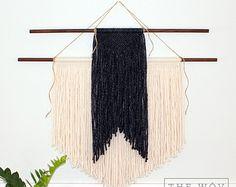 Handmade Two Tier Macrame Wall Hanging Tan and Cream by TheWov