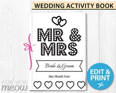 Instantly Download This Wedding Activity Book PDF File Template Edit The Bride And Grooms Name