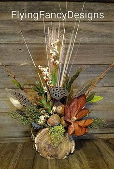 Rustic Reclaimed Wood Magnolia Feather Silk Dried Floral Flower Arrangement in Home & Garden | eBay #weddingflowers