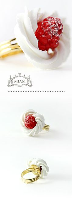 Bague chantilly framboise. MIAM PARIS.
