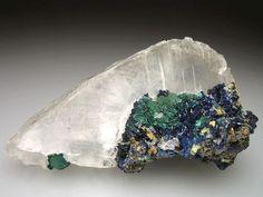 Selenite with Azurite and Malachite    Tsumeb Mine, Tsumeb, Otjikoto Region, Namibia