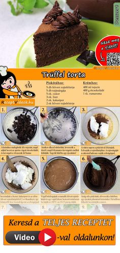 Trüffel torta recept videó Cake Boss Recipes, Cookie Recipes, Dessert Recipes, Dessert Oreo, Dessert Drinks, Birthday Cakes For Teens, Teen Birthday, Cake Truffles, Hungarian Recipes