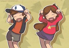Gravity Falls: Dipper & Mabel So adorable Gravity Falls Anime, Gravity Falls Fan Art, Gravity Falls Comics, Gravity Falls Dipper, Dipper Pines, Dipper Und Mabel, Mabel Pines, Bill X Dipper, Billdip