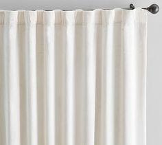 """Shiny Velvet Drape, 50x124"""", Ivory"""