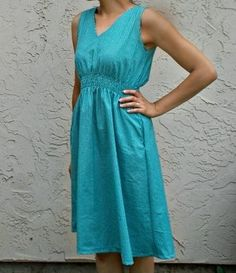 Aquamarine Afternoon Dress - Add a hue of blue to your wardrobe with this stunning and simple free dress pattern. This dress is an all-occasions dress. Make it in comfy cotton and it makes the perfect free dress pattern for an afternoon at home.