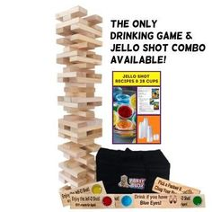 Giant Jenga Drinking Game with Jello Shots! The largest block tower game on the market! Fun laser engraved drinking phrases on every block. You can personalize it just for you or it makes the perfect one-of-a-kind gift! www.prescottpinedesigns.etsy.com