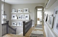 Simple And Easy Steps To A Successful Home Improvement Project. Regardless of whether you are planning on staying or moving, home improvement is an important part of home ownership. Hallway Pictures, Hallway Ideas, Hallway Inspiration, Photo Ledge, Picture Ledge, White Picture, Picture Shelves, Foyer Decorating, Decorating Tips