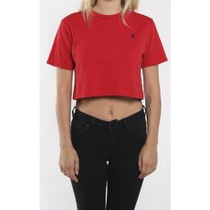Vintage Polo Crop Tee ($30) ❤ liked on Polyvore featuring tops, t-shirts, red tee, red crop top, polo tops, vintage crop top and vintage tees