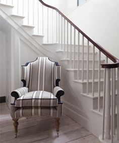 The design of this chair is the perfect element to this clean interior.  William Yeoward fabric is fabulous!