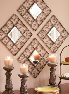 Create a focal point in any room by showcasing multiples of our Script Accent Mirror hung diagonally.