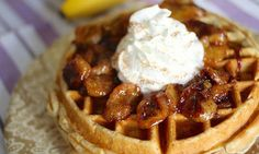 Coconut Waffles With Roasted Maple Cherries Recipe — Dishmaps