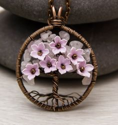 Tree-Of-Life Necklace Pendant Copper Clothing-gift Wire Wrapped Pendant Wired Copper Jewelry Wire Wrapped Tree Rose Quartz Necklace Rustic