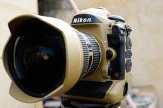 "Military grade ""Desert Mirage Lizard"" painted Nikon gear"