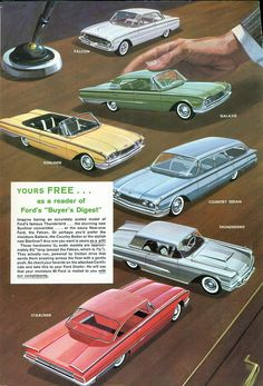 1960 Ford Promo Models: Falcon, Galaxie, Sunliner, Country Sedan, Thunderbird, and Starliner