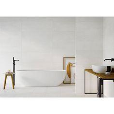 Studio White Matte Porcelain Tile - 16 x 48 - 100711035 Large White Tiles, White Wall Tiles, White Bathroom Tiles, Bath Tiles, Bathroom Floor Tiles, Master Bathroom, White Porcelain Tile, Traditional Tile, White Shower